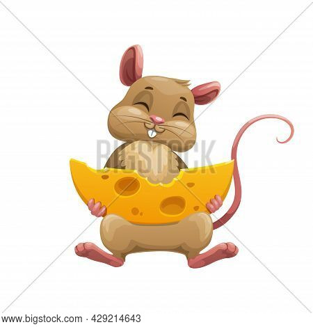 Happy Cartoon Mouse With Cheese. Cute Vector Rat Character Bite Large Piece Of Cheese With Holes Iso