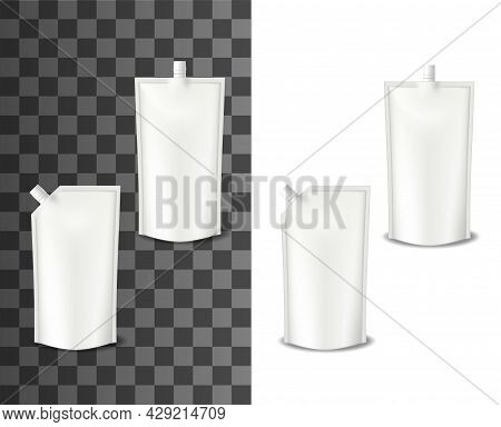 Mayonnaise Doypack, Realistic Packaging Or Doy Pack, Vector Isolated. Mayonnaise Sauce Doypack Or Pl