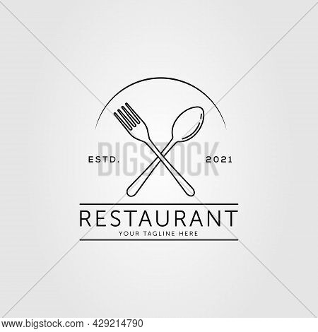 Spoon Fork Restaurant Eatery Logo Vector Illustration Design. Cutlery Outline Symbol