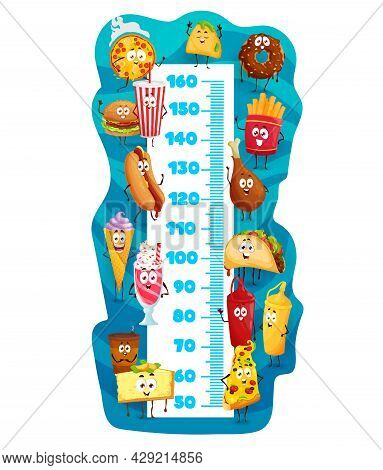 Kids Height Chart With Cartoon Fast Food Characters, Vector Growth Meter. Kids Height Chart With Fun