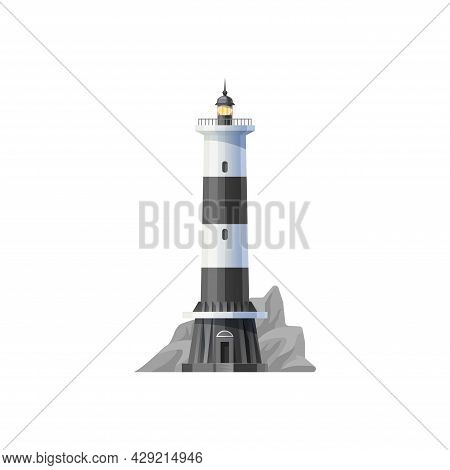 Lighthouse Vector Icon, Beacon Or Sea Light House And Coast Tower In The Rocks. Lighthouse Beacon Fo