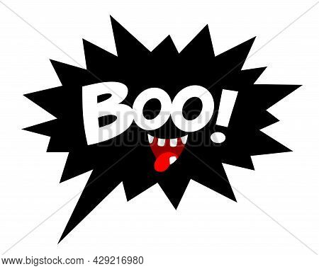 Boo Letters On Comic Text. Cute Halloween Greeting. Good For Greeting Card Decoration, Poster, And G