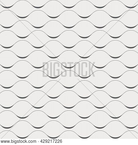 Linear Vector Pattern, Repeating Wavy Line Or Curved Line On Horizon. Pattern Is Clean For Fabric, W