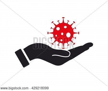 Hand Corona Logo Design. Corona Logo With Hand Concept Vector. Hand And Corona Logo Design