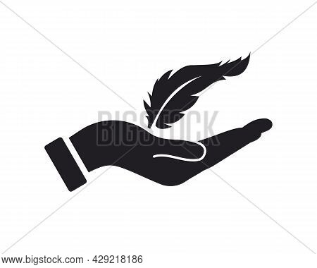 Hand Feather Logo Design. Feather Logo With Hand Concept Vector. Hand And Feather Logo Design