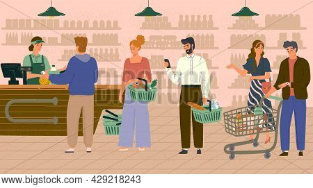 People In Queue To Cashier In Grocery Store Or Supermarket Concept Vector Illustration. Customers Bu