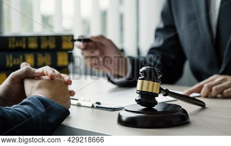 Gavel Hammer, Lawyer Providing Legal Consult Business Dispute Service To The Man At The Office.