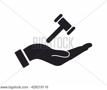 Hand Law Logo Design. Law Logo With Hand Concept Vector. Hand And Law Logo Design