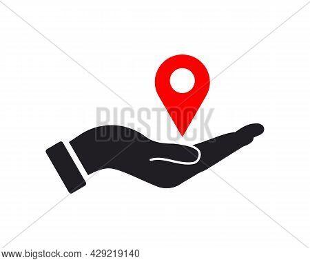 Hand Location Logo Design. Location Logo With Hand Concept Vector. Hand And Location Logo Design