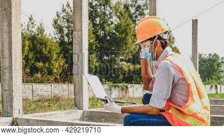 Construction Structures Site, Engineer Contractor Man Use Laptop Work Safety Industry Project, Check