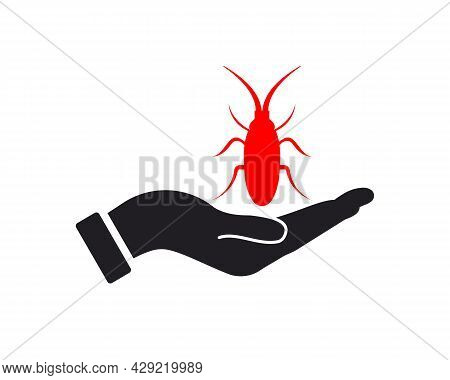 Hand Seed Insect Logo Design. Seed Insect Logo With Hand Concept Vector. Hand And Seed Insect Logo D