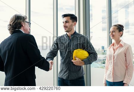 Engineer Contractor Team Handshake After Meeting Work Safety Plan Industry Project And Check Design