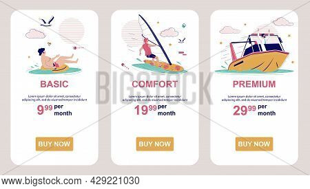 Pricing Or Subscription Plans. Price List. Mobile App Screens, Vector Website Banner Template. Ui, W