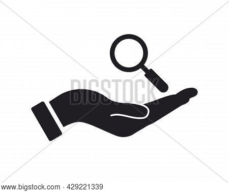 Hand Magnifying Logo Design. Magnifying Logo With Hand Concept Vector. Hand And Wine Search Logo Des