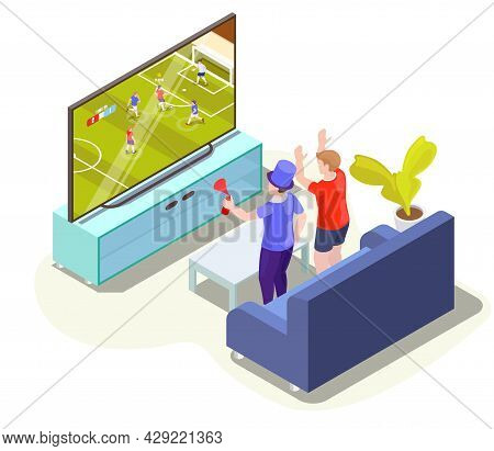 Fans Watching Soccer Match Translation On Tv At Home, Vector Isometric Illustration. Live Football O