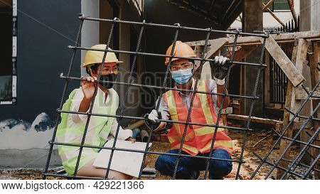 Engineer Contractor Team Meeting Work Safety Industry Project, Check House Plan Design And Investiga