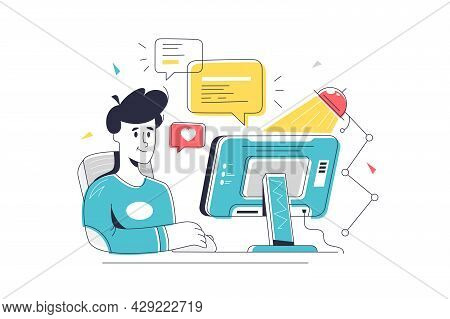 Male Character Sit At Computer Device. Vector Reply To Message, Chat On Website Linear Art Style. Of