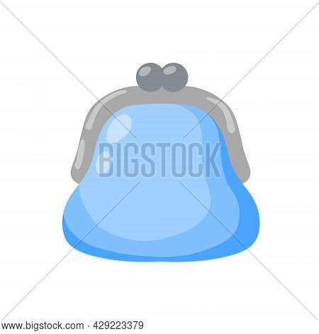 Wallet For Money. Personal Accessories For Savings. Small Blue Purse. Flat Cartoon Illustration