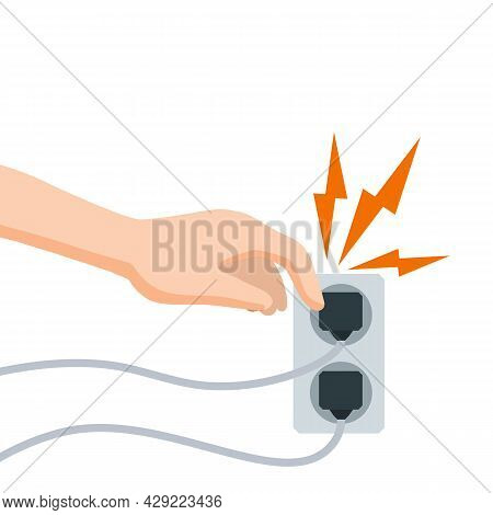 Electric Shock And Short Circuit. Safety Precautions. Hand Touches Bare Wire. High Voltage. Dangerou