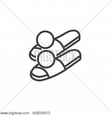 Womens House Slippers Line Icon. Linear Style Sign For Mobile Concept And Web Design. Summer Slipper