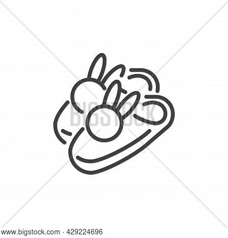 Bunny Slippers Line Icon. Linear Style Sign For Mobile Concept And Web Design. Rabbit Slippers Vecto