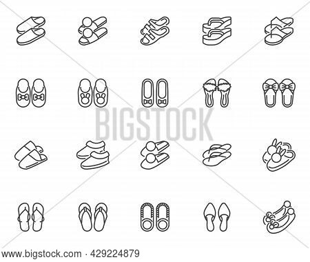House Slippers Line Icons Set. Summer Sandals Linear Style Symbols Collection, Outline Signs Pack. I