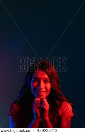 Pleading Woman. Asking Apology. Request Favor. Begging Please. Cute Smiling Young Girl With Implorin