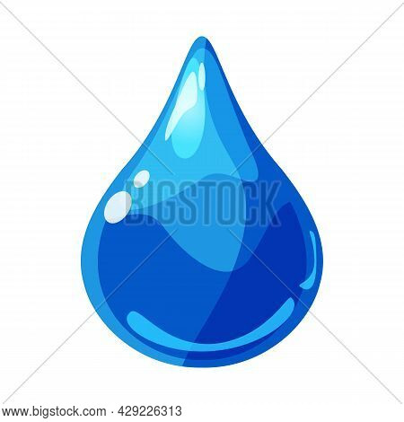 Drop Blue Shiny Glossy Colorful Game Asset. Aqua, Jelly, Crystal, Glass Drip, Bubble Shot Elements.