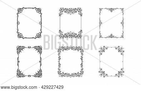 Black Ornate Frames With Filigree Swirls Vector Set