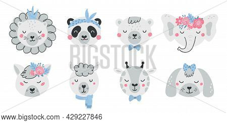 Set Of Cute Animal Faces And Flowers In Flat Style. Collection Of Characters Lion, Panda, Bear, Elep