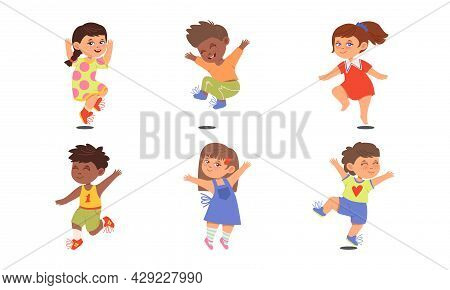 Boy And Girl Character Jumping With Joy And Excitement Vector Illustration Set