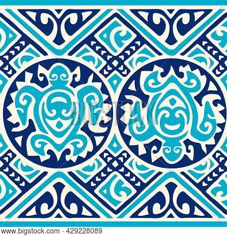 Tropical Native Tapa Pattern With Full Repeat And Honu Turtle Polynesian Hawaiian Graphics