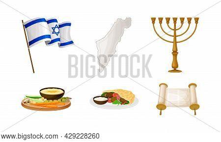 Israeli Or Jewish Attributes With Menorah And Torah Scroll Vector Set