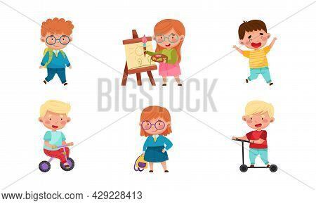 Cute Little Boy And Girl Having Fun Riding Scooter And Drawing With Paints Vector Set