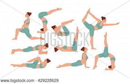 Fitness And Yoga Exercise Elements Collection, Woman Practicing Yoga Flat Icons Set, Colorful Symbol