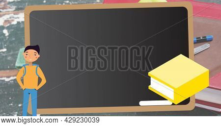 Image of school items icons moving over school items. education, development and learning concept digitally generated image.