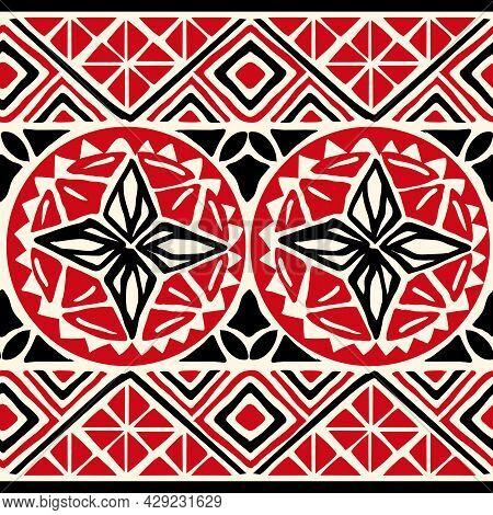 Tribal Tropical Art Pattern Of Indigenous Hawaiian And Polynesian Culture