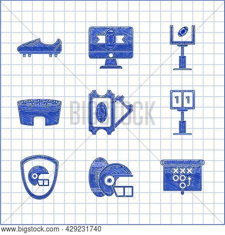 Set American Football Ticket, And Helmet, Planning Strategy Concept, Sport Football Mechanical Score