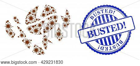 Viral Collage Coffee Bean Destruction Icon, And Grunge Busted Exclamation Stamp. Coffee Bean Destruc