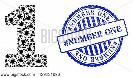 Viral Collage Digit One Icon, And Grunge Hashtag Number One Stamp. Digit One Collage For Isolation T