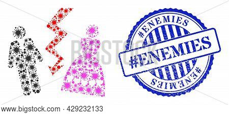 Covid-2019 Collage Divorce Persons Icon, And Grunge Hashtag Enemies Seal Stamp. Divorce Persons Coll