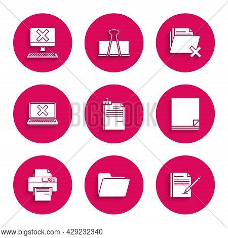 Set File Document And Binder Clip, Document Folder, Blank Notebook Pen, Printer, Laptop Cross Mark O