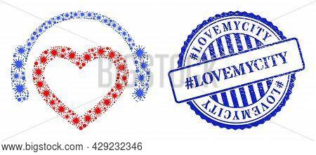 Covid-2019 Mosaic Favourite Dj Headphones Icon, And Grunge Hashtag Lovemycity Seal Stamp. Favourite