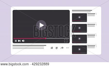 Illustration Of Video Channel Window With Video Playing. Online Video Channel Template Interface. Ve