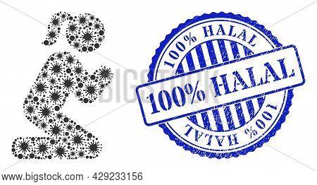 Coronavirus Collage Praying Girl Icon, And Grunge 100 Percents Halal Seal. Praying Girl Collage For