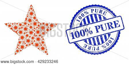Coronavirus Collage Red Star Icon, And Grunge 100 Percents Pure Seal Stamp. Red Star Collage For Epi