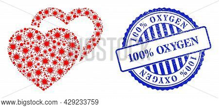 Covid Mosaic Valentine Hearts Icon, And Grunge 100 Percents Oxygen Seal. Valentine Hearts Mosaic For
