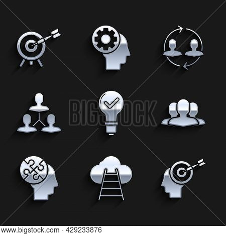 Set Light Bulb And Check Mark, Ladder Leading To Cloud, Head Hunting Concept, Users Group, Human Hea