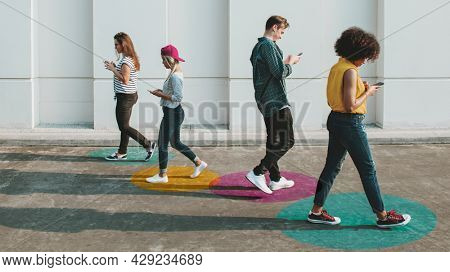 People walking with social distancing in public