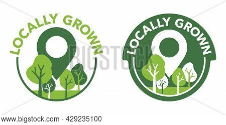 Locally Grown Badge For Food Labeling - Eco-friendly Emblem For Local Farming Fruits Or Vegetables -